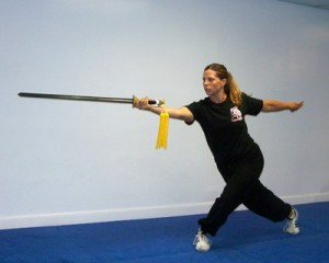 Instructor Karen demonstrating straight sword