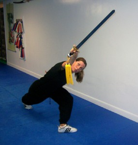 Instructor Karen demonstrates straight sword form